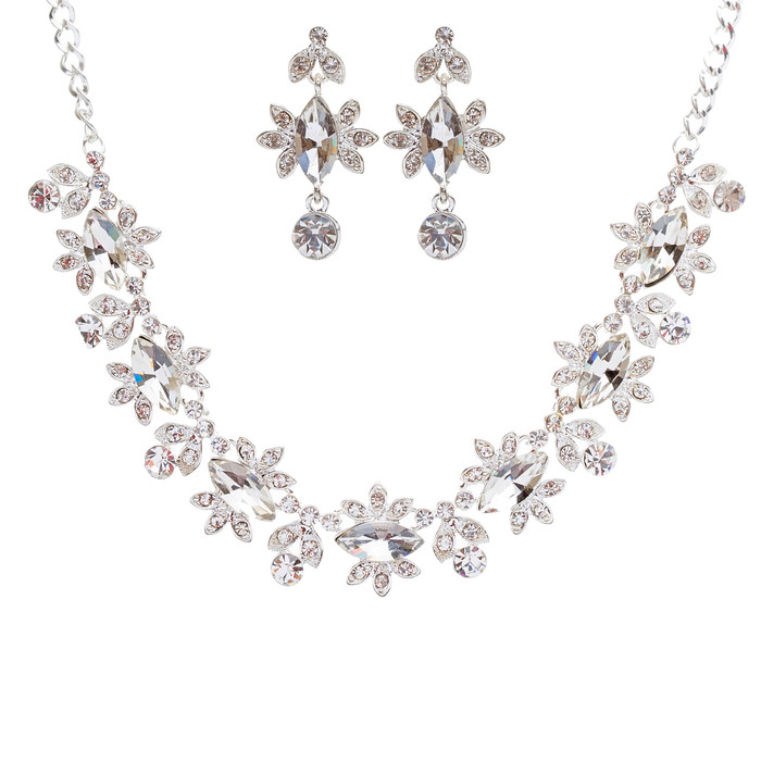 Bridal Wedding Jewelry Set Crystal Rhinestone Beautiful Marquise Necklace Silver