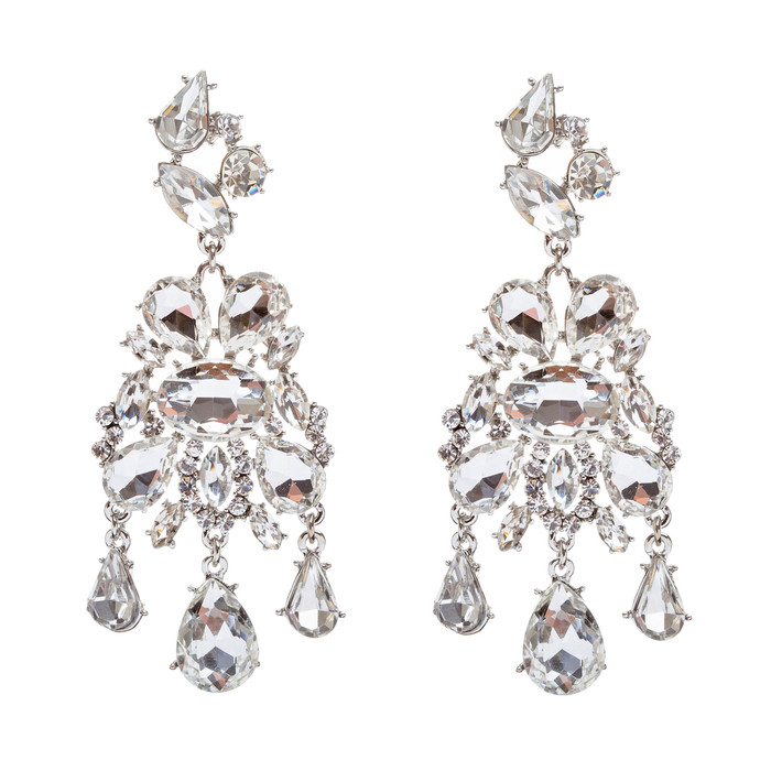 Bridal Wedding Jewelry Crystal Rhinestone Stylish Trendy Design Dangle Earrings
