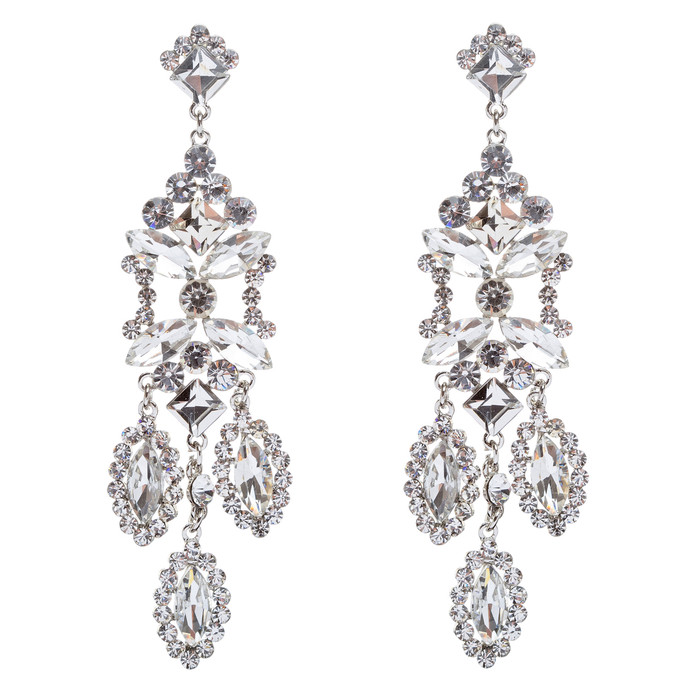 Bridal Wedding Jewelry Crystal Rhinestone Shine Dazzle Long Dangle Earrings