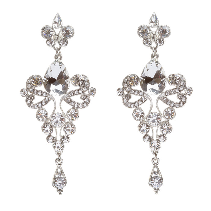 Bridal Wedding Jewelry Crystal Rhinestone Trendy Chic Dazzle Dangle Earrings SV