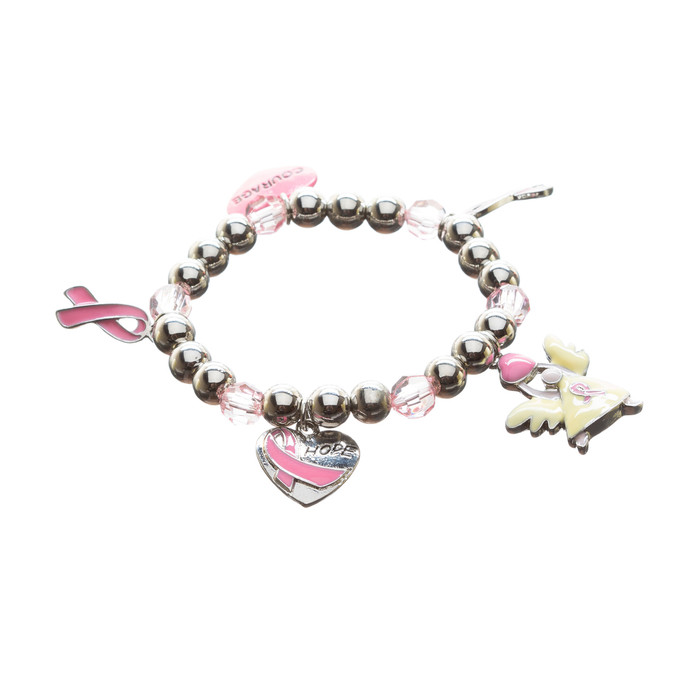 Pink Ribbon Breast Cancer Awareness Jewelry Heart Hope Angel Stretch Bracelet