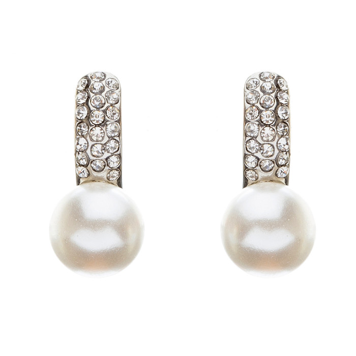 Bridal Wedding Jewelry Crystal Rhinestone Pearl Classic Liner Dangle Earrings SV