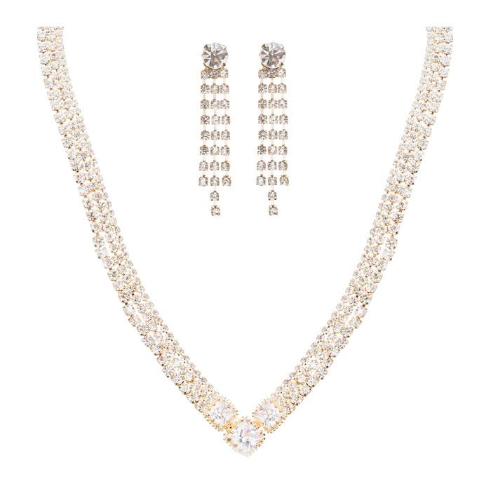 Bridal Wedding Jewelry Crystal Rhinestone Simple Sparkle Design Necklace Gold