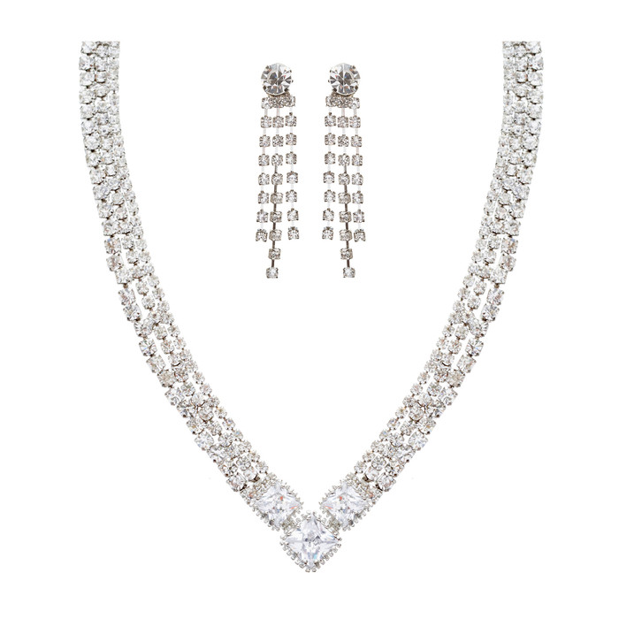 Bridal Wedding Jewelry Crystal Rhinestone Simple Sparkle Design Necklace Silver