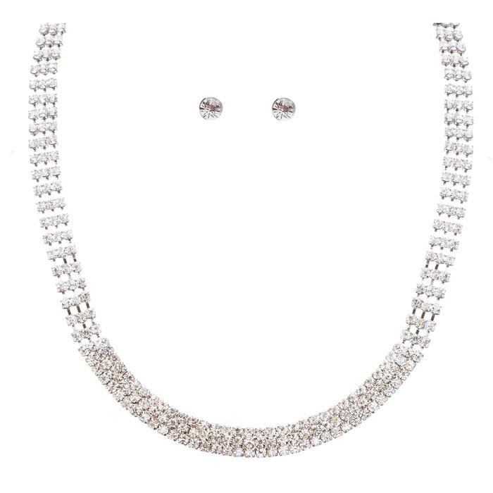 Bridal Wedding Jewelry Crystal Rhinestone Simple Linear Rows Necklace Silver