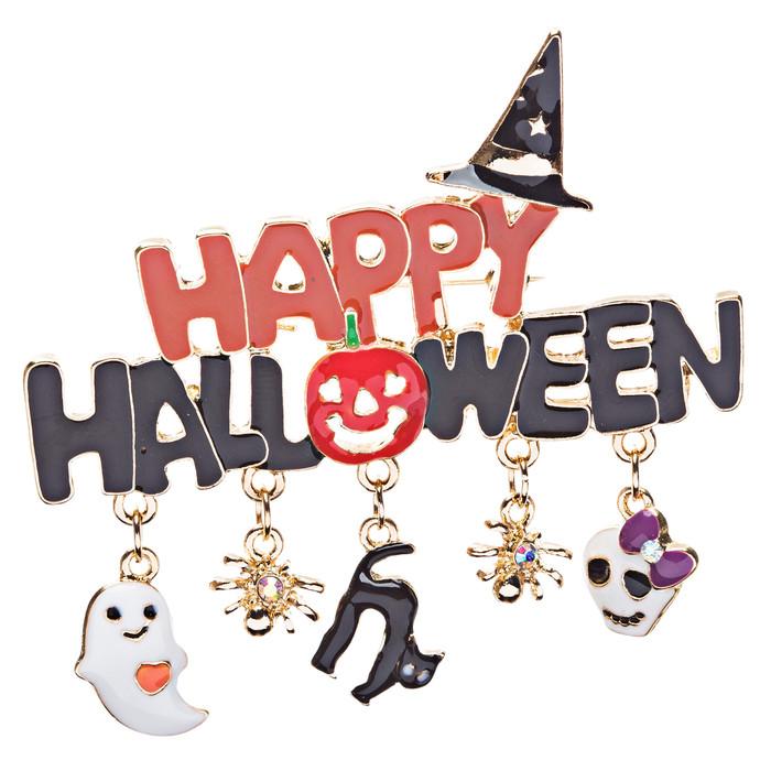 Halloween Costume Jewelry Happy Ghost Black Cat Skull Spider Charm Brooch Pin