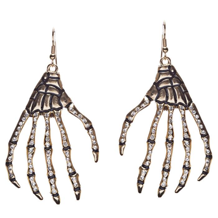 Halloween Costume Jewelry Rhinestone Skull Hand Dangle Fashion Earrings Gold