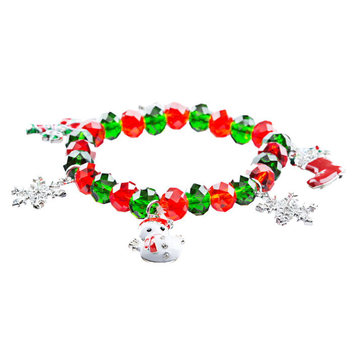 Christmas Jewelry Happy Holidays Spirit Candy Cane Snowman Snowflake Bracelet