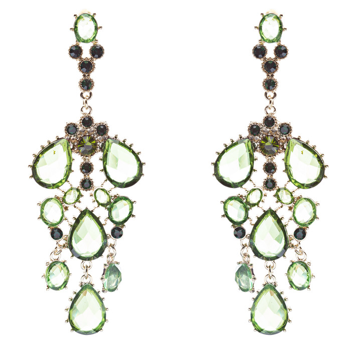 Fashion Chic Sparkle Crystal Rhinestone Stone Dangle Statement Earrings Green