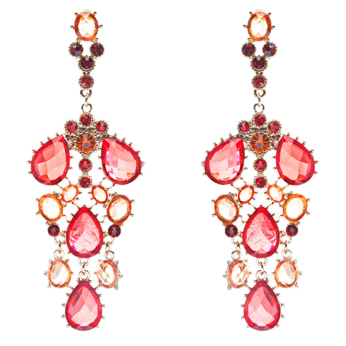 Fashion Chic Sparkle Crystal Rhinestone Stone Dangle Statement Earrings Red