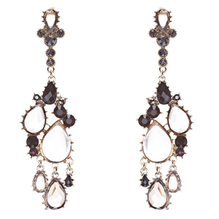 Fashion Chic Sparkle Crystal Rhinestone Teardrop Dangle Statement Earrings Black