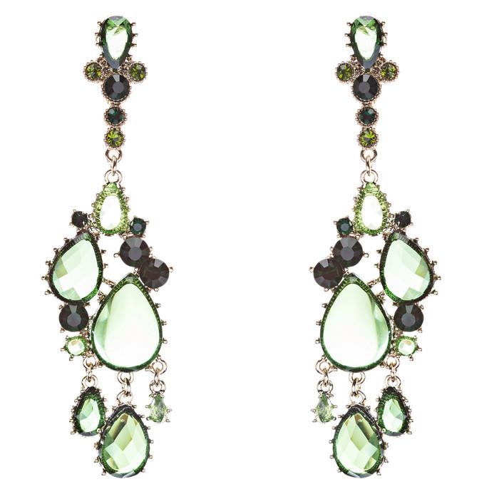 Fashion Chic Sparkle Crystal Rhinestone Teardrop Dangle Statement Earrings Green