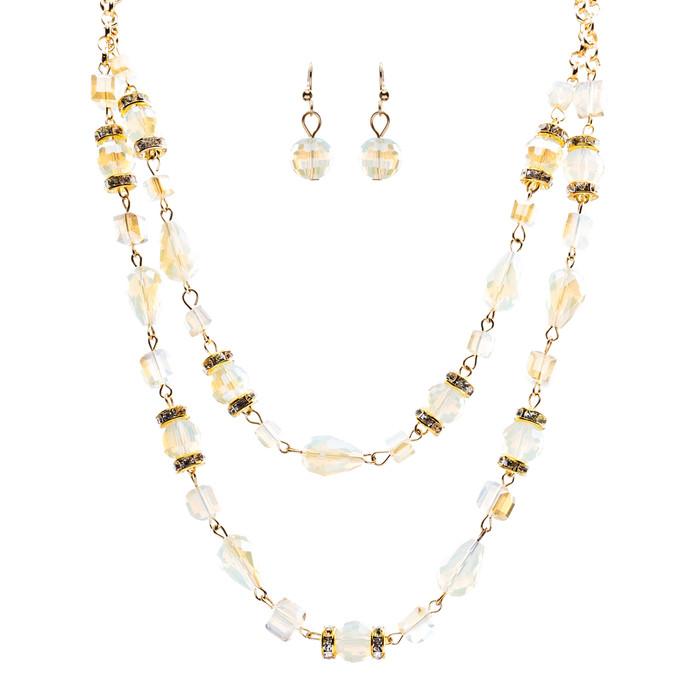 Beautiful Fashion Beads Double Layered Design Statement Necklace Set Ivory