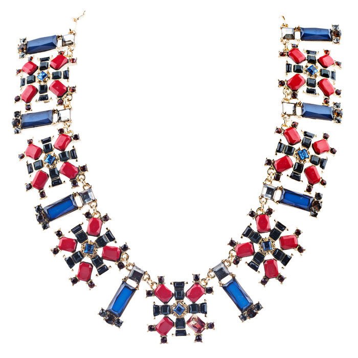 Stunning Simple Formica Crystal Bib Design Statement Jewelry Necklace Blue