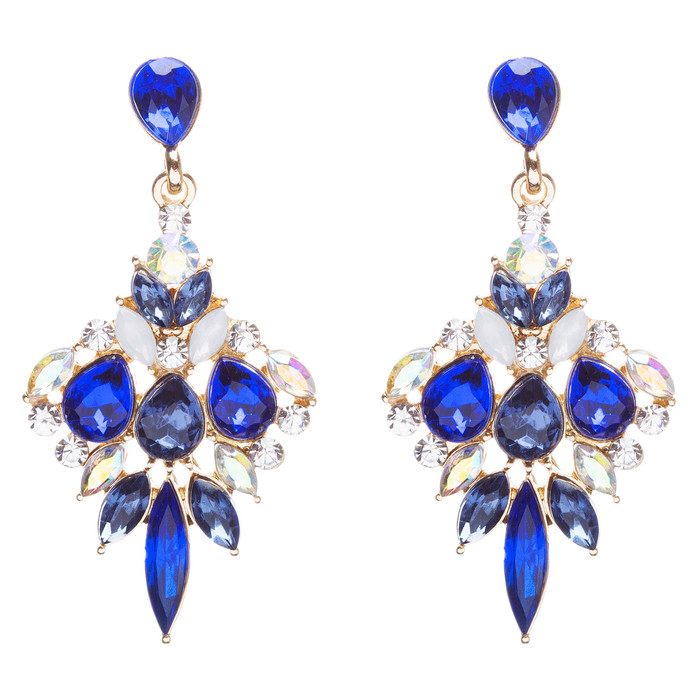 Beautiful Glamorous Bridal Crystal Rhinestone Dangle Fashion Earrings Gold Blue