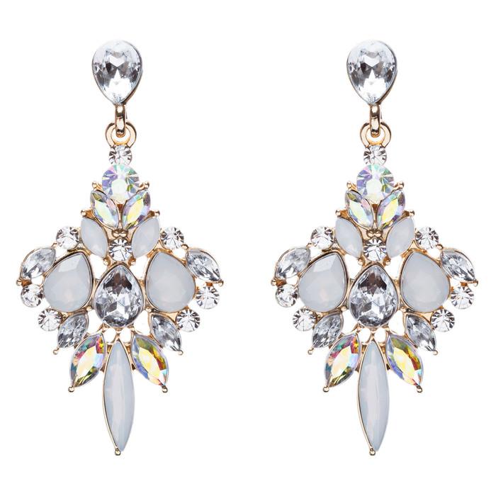 Beautiful Glamorous Bridal Crystal Rhinestone Dangle Fashion Earrings Gold Clear