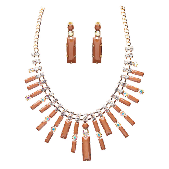 Chic Trendy Fashion Link Design Rhinestone Statement Necklace Set Brown