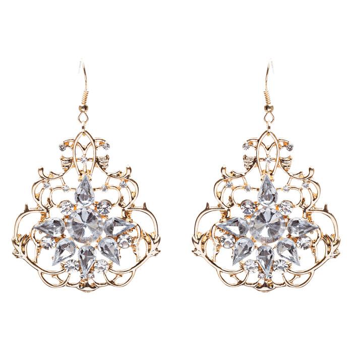 Beautiful Crystal Rhinestone Sophisticated Design Dangle Fashion Earrings Gold