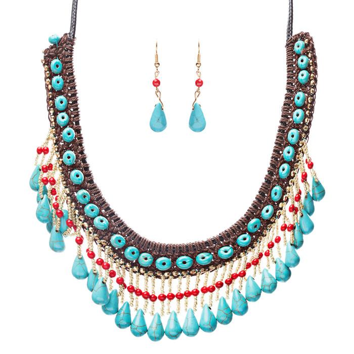 Statement Bohemian Bead Crystal Rhinestone Stone Lace Bib Necklace Set Multi