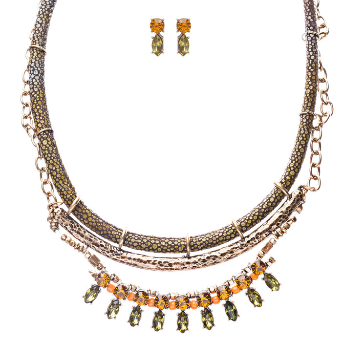 Statement Multi Layered Hammered Fabric Stone Antique Gold Necklace Set Green