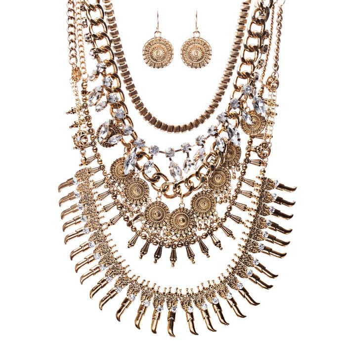 Statement Urban Chic Stylish Design Bead Crystal Rhinestone Necklace Set Gold