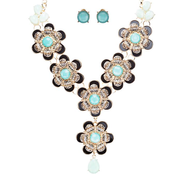 Statement Beautiful Layered Flower Floral Crystal Fashion Necklace Set Tq Black