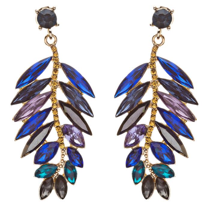 Stunning Beautiful Crystal Rhinestone Leaf Linear Drop Statement Earrings Blue