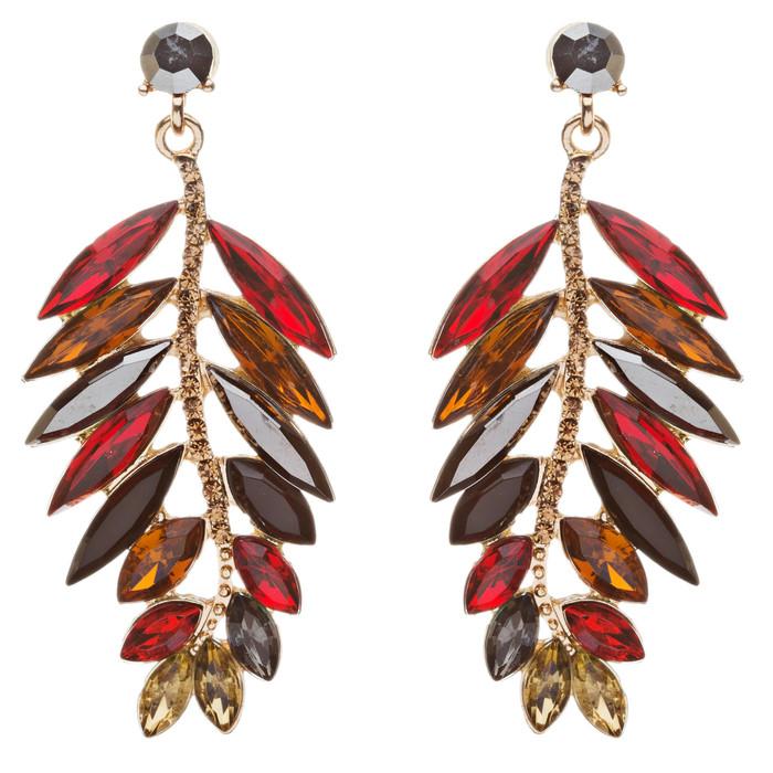 Stunning Beautiful Crystal Rhinestone Leaf Linear Drop Statement Earrings Red