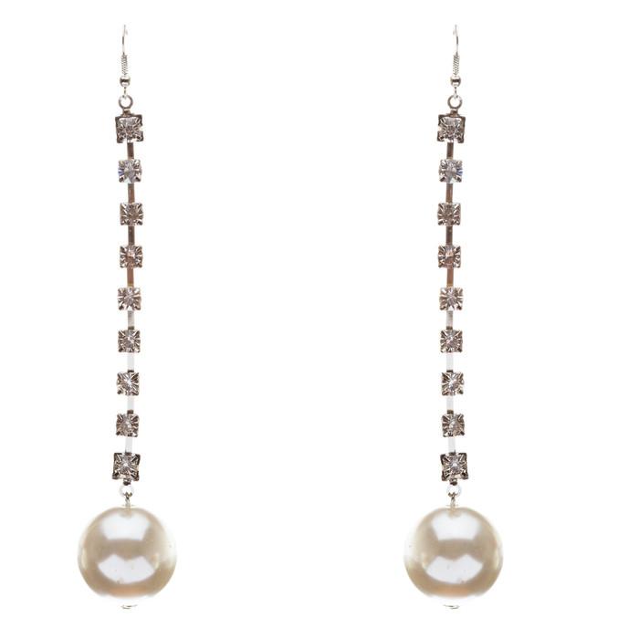 Bridal Wedding Jewelry Crystal Rhinestone Pearl Linear Drop Long Earrings Gold
