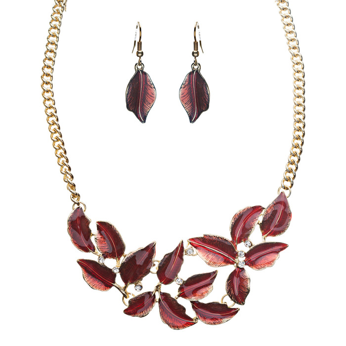 Beautiful Enamel Metal Leaf Design Bib Style Statement Necklace Set Gold Red