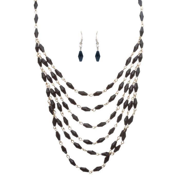 Beautiful Simple Multi Layered Bead Drape Design Statement Necklace Set Black