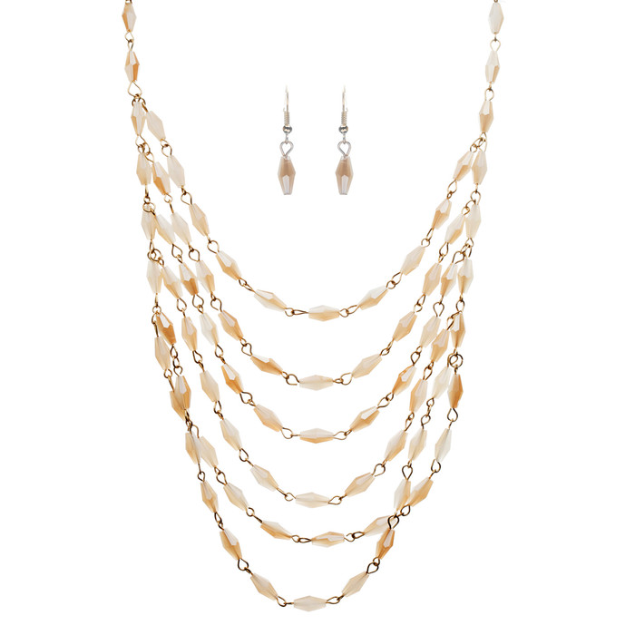 Beautiful Simple Multi Layered Bead Drape Design Statement Necklace Set Beige