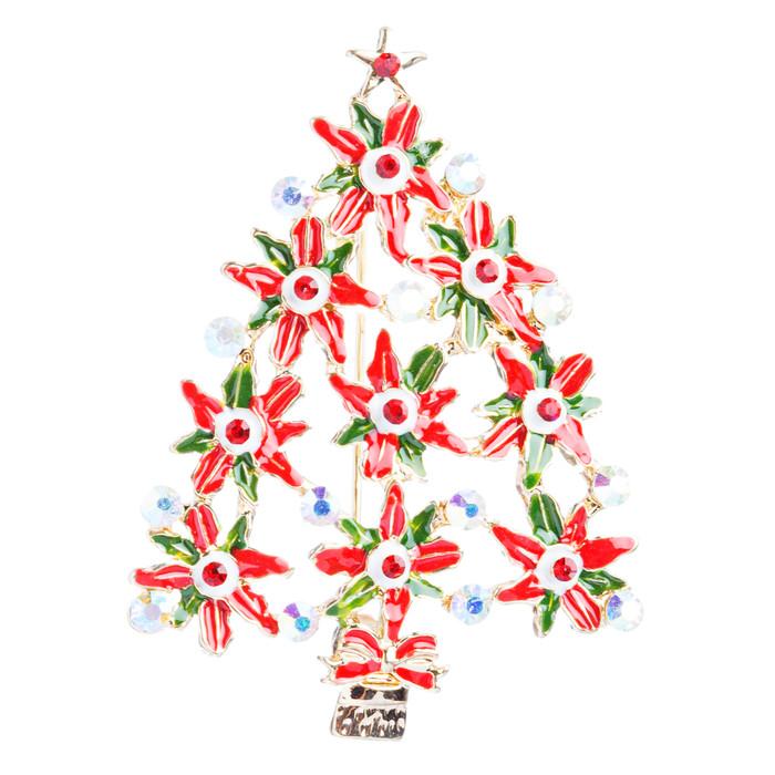 Christmas Jewelry Crystal Rhinestone Dazzle Sparkle Tree Charm Brooch Pin BH92