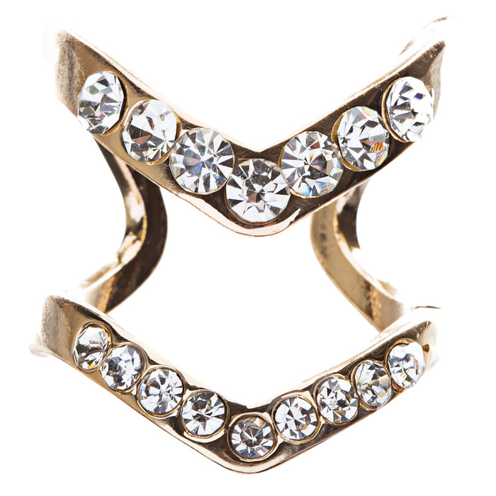 Chic Trendy Gorgeous Simple Classic Crystal Rhinestone V Fashion Ring R207