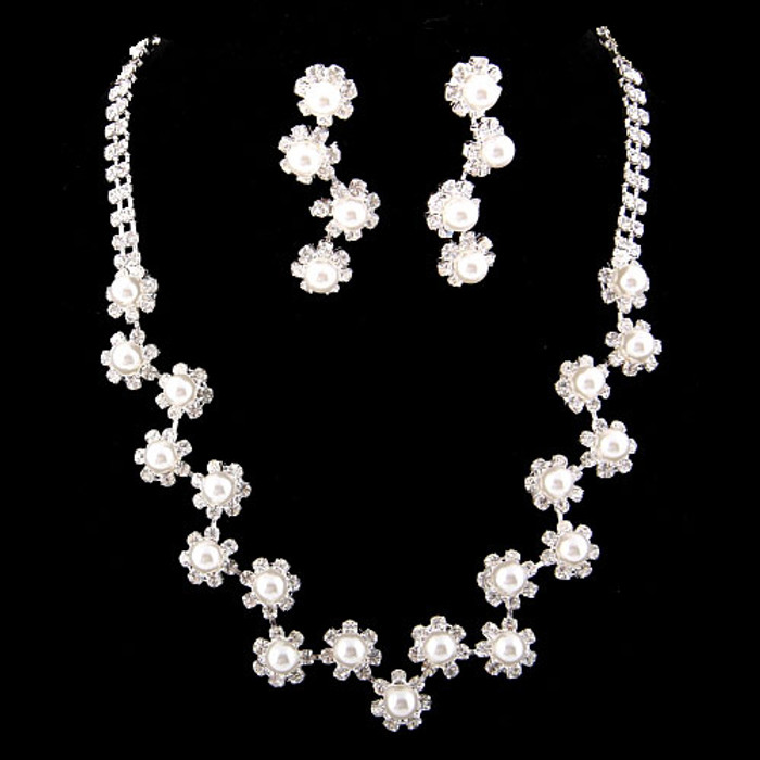 Bridal Wedding Jewelry Set  Necklace Earring Floral Rhinestone Pearls Silver