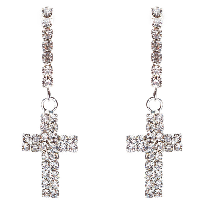 Simple Sparkle Crystal Rhinestone Cross Charm Dangle Fashion Earring E769 Silver