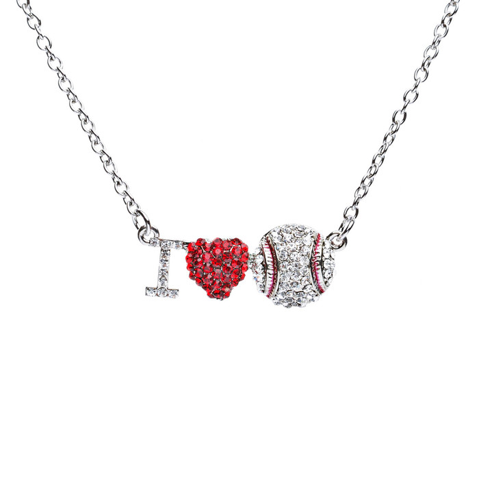 Sport Jewelry I Love Baseball Crystal Rhinestone Heart Fashion Necklace Silver