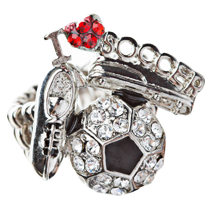 Sport Jewelry I Love Soccer Crystal Rhinestone Fashion Stretch Ring Silver