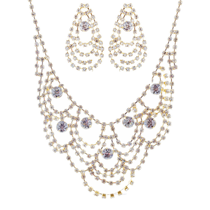 Bridal Wedding Jewelry Set Necklace Earring Crystal Rhinestone Bib Drape Gold