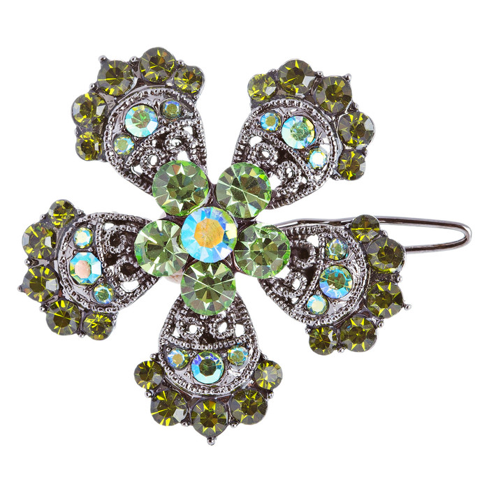 Austrian Crystal Hair Clip Jewelry Floral Flower Green