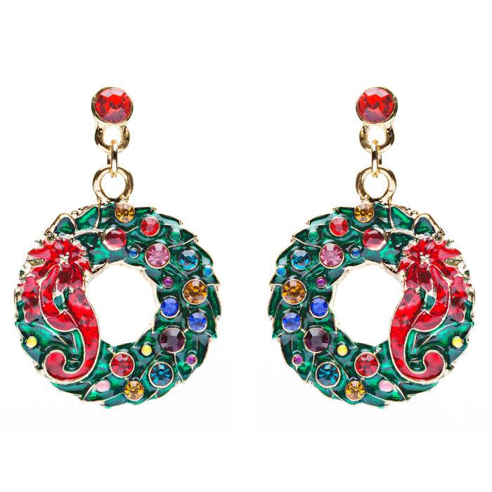 Christmas Jewelry Crystal Rhinestone Wreath Ribbon Charm Earrings Green Gold