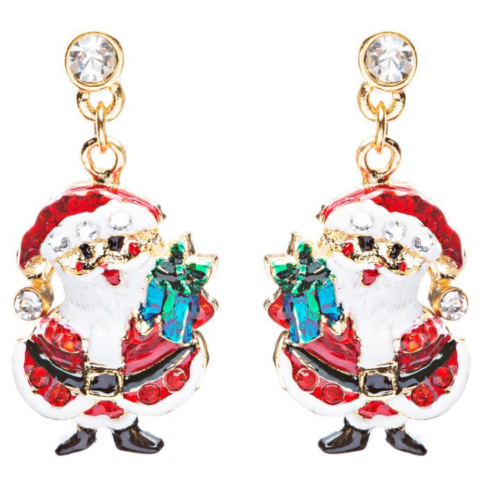 Christmas Jewelry Crystal Rhinestone Santa Claus Present Dangle Earrings E877