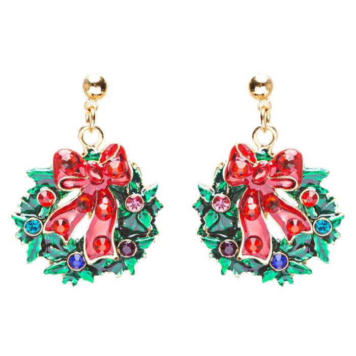 Christmas Jewelry Crystal Rhinestone Santa Wreath Dangle Charm Earrings E879