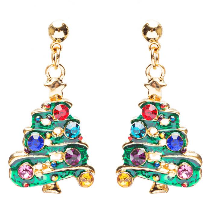 Christmas Jewelry Crystal Rhinestone Tree Dangle Charm Earrings E881 Green