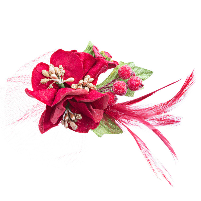 Christmas Jewelry Ornate Mesh Decorated Fashion Hair Pin Clip Brooch H483 Red