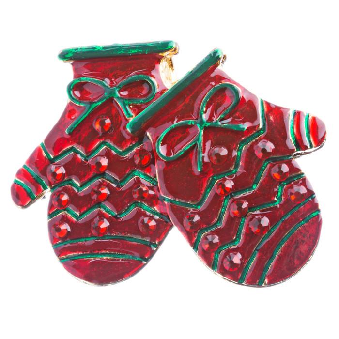Christmas Jewelry Crystal Rhinestone Holiday Winter Gloves Mittens Brooch BH128