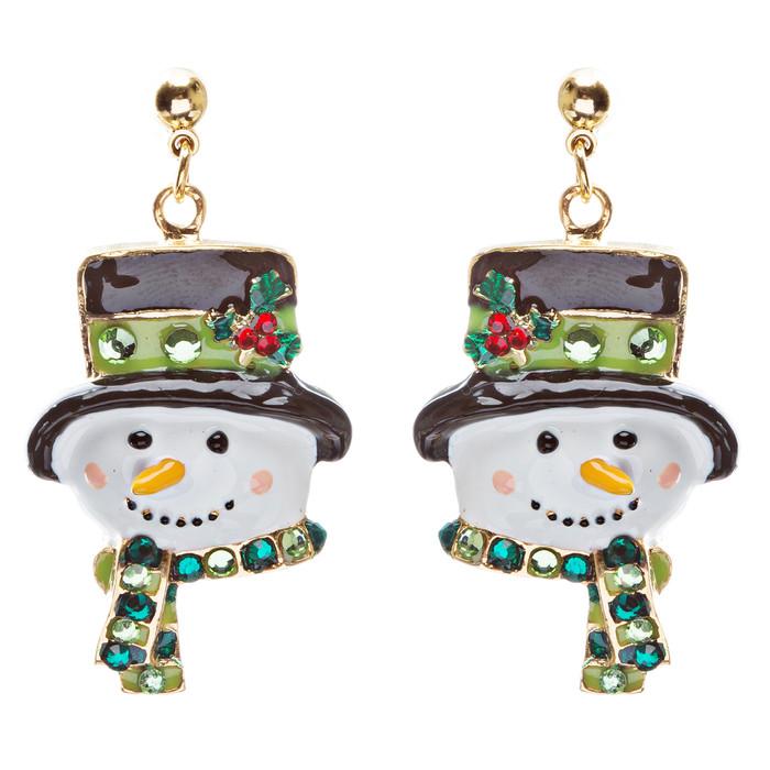 Christmas Jewelry Crystal Rhinestone Holiday Happy Snowman Face Earrings E884