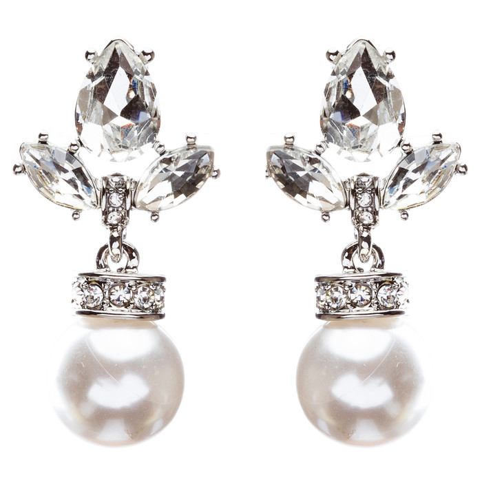 Bridal Wedding Jewelry Crystal Rhinestone Sophisticated Pearl Earrings E800Clear