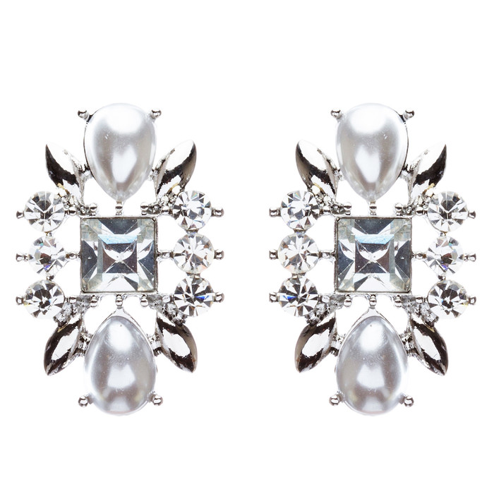 Bridal Wedding Jewelry Crystal Rhinestone Intricate Faux Pearl Earrings E801Clr