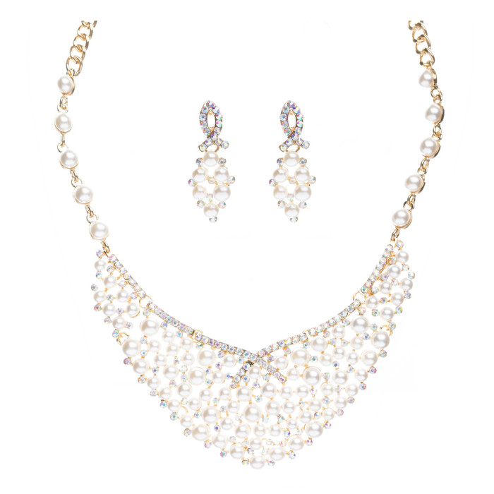 Bridal Wedding Jewelry Set Crystal Rhinestone Pearl Stunning Bib Gold Cream AB